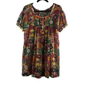 Zara oversize XS floral sheer dress multicolor